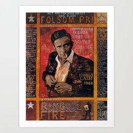Red Johnny Cash Art Print