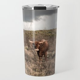 Stare Down - A Texas Bull in the Mesquite and Cactus Travel Mug