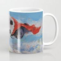 superheros Mugs featuring Panda Superhero by Michael Creese