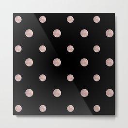 Happy Polka Dots Rose Gold on Black #1 #decor #art #society6 Metal Print