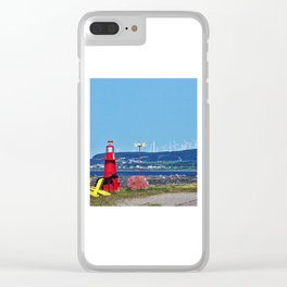 Coastal Windmill Park Clear iPhone Case