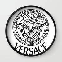 versace Wall Clocks featuring Versace Noir by Goldflakes