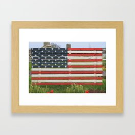 American Flag Rustic Framed Art Print