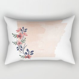 Arkansas Watercolor Floral State Rectangular Pillow