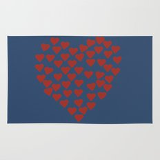 Hearts Heart Red on Navy Rug