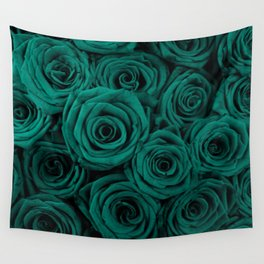emerald green roses Wall Tapestry