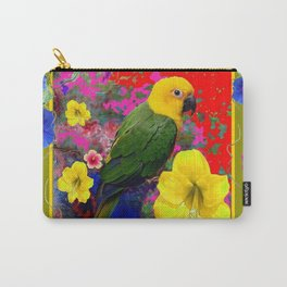 YELLOW-GREEN PARROT TROPICAL RED-BLUE FLORAL ART Carry-All Pouch