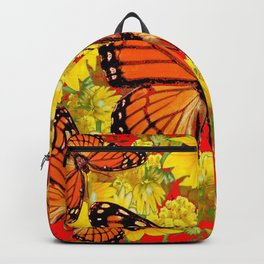 VICEROY BUTTERFLIES & YELLOW FLOWERS RED ART Backpack