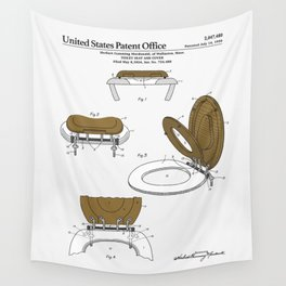 Toilet Seat and Cover Patent Wall Tapestry