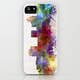 Greensboro skyline in watercolor background iPhone Case