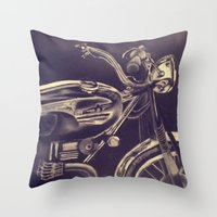 motorcycle Throw Pillows featuring motorcycle by gretchenweidner.com