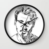johnny depp Wall Clocks featuring Johnny Depp by Dominic Gallelli