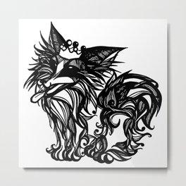 King Papillon - Black & White Metal Print