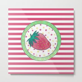 Strawberry and stripes Metal Print