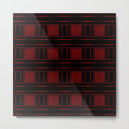 Abstract Red Electric Plaid Pattern Metal Print