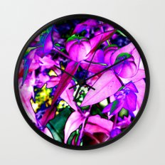 Pink Altered Flowers Wall Clock