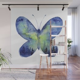 Space Butterfly - Blue Green Wall Mural