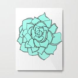 Blue Succulent Love Metal Print