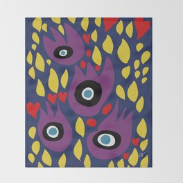 Purple Birds in the Night Illustration Art Throw Blanket