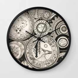 Ink Pen Collage Wall Clock