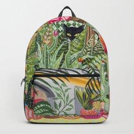 Black cat in the Garden Backpack