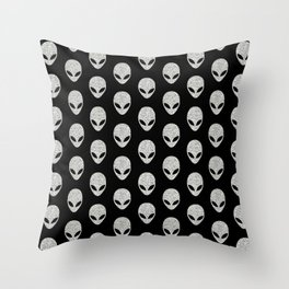 Glitter Grey Aliens Throw Pillow