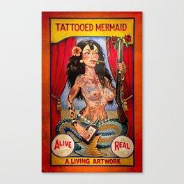 Tattooed Mermaid Canvas Print