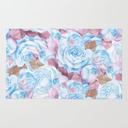 Modern blue lavender watercolor elegant rose floral Rug