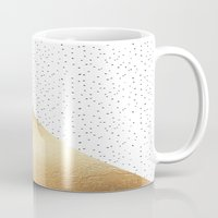 gold dots Mugs featuring Gold and Polka Dots by Jenna Davis Designs