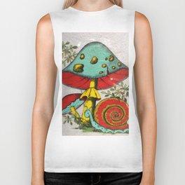 Snail and mushrooms Biker Tank