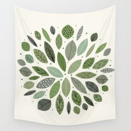 Mid-Century Green Leaves Wall Tapestry