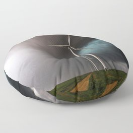Wind Farm - Renewable Energy on the Texas Plains Floor Pillow