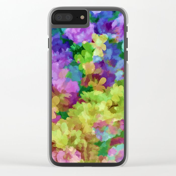Watercolor Garden Flowers Clear iPhone Case