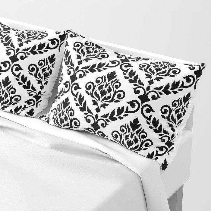 Prima Damask Pattern Black on White Pillow Sham