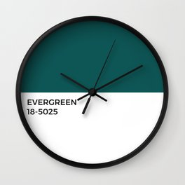 Evergreen Pantone Chip • Pine Forest • Nature • Earth Day • Green • Eco • Sustainable • Good Design  Wall Clock