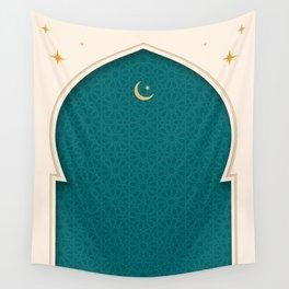 Mihrab - Minimal Teal Wall Tapestry