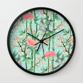 Bamboo, Birds and Blossom - soft blue green Wall Clock