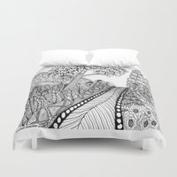 trip Duvet Covers featuring Zentangle Illustration - Road Trip by Vermont Greetings
