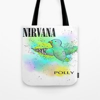 nirvana Tote Bags featuring polly / nirvana by Dan Solo Galleries