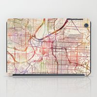 kansas city iPad Cases featuring Kansas City by MapMapMaps.Watercolors