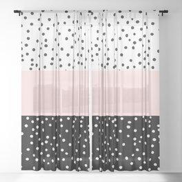 Pink white black watercolor polka dots Sheer Curtain