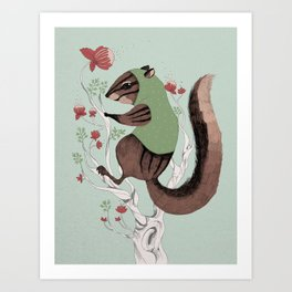 Squirrel Green Hood Art Print