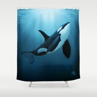 orca Shower Curtains featuring The Dreamer  ~ Orca ~ Killer Whale by Amber Marine