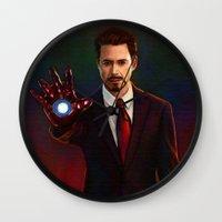 tony stark Wall Clocks featuring Art Of Tony Stark Iron Man by Andrian Kembara