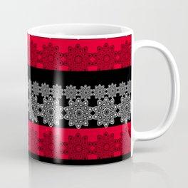 Black red fishnet lace pattern . Coffee Mug
