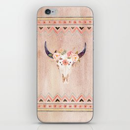 Bull Head Skull Boho Flowers iPhone Skin