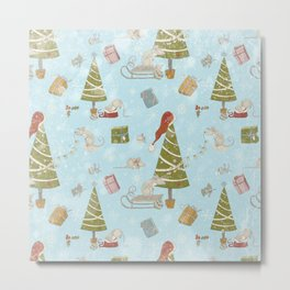 From Mice And Christmas-Cute teal X-Mas Pattern Metal Print