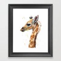 Giraffe Watercolor Cute Baby Animals Whimsical Art Framed Art Print