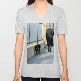 The Shadow Striper's Dog Walk Unisex V-Neck