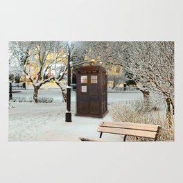 TARDIS in SNOW Rug